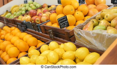 Shelfs with Fruits at the market