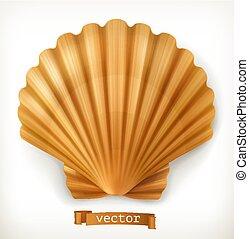 shell., ベクトル, 3d, アイコン