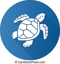 shell., 水泳, 海洋学, 平ら, 影, イラスト, 青, zoology., うろこ状, シルエット, カメ, ...