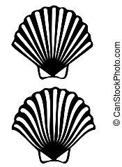 A scallop shell tribal tattoo