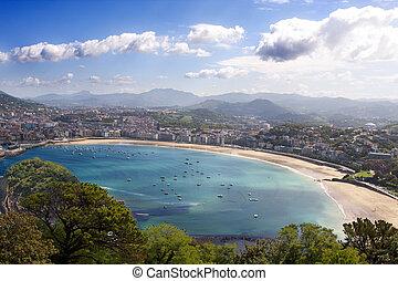 Shell Beach in San Sebastian, Basque Country, Spain
