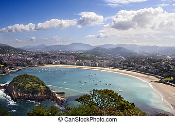Shell Beach in San Sebastian, Basque Country, Spain