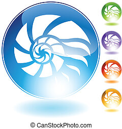 shell crystal icon isolated on a white background.