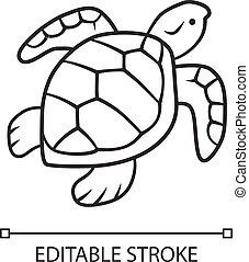 shell., editable, natación, drawing., aislado, línea, escamoso, marina, golpe, tortuga, lento, mudanza, animal., contorno, contorno, símbolo., fauna., reptil, acuático, lineal, icon., vector, creature., delgado, illustration.