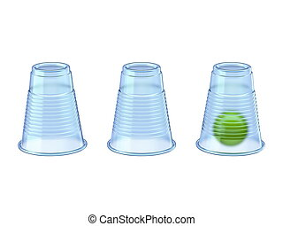 Shell Game three transparent cups and green ball 3D render ...