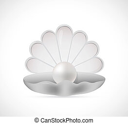 Shell pearl cartoon - Illustration of shell pearl on grey...