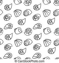 Shell seamless pattern on the white background