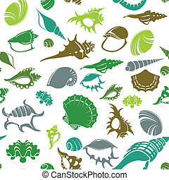 Vector image of seamless pattern with shell