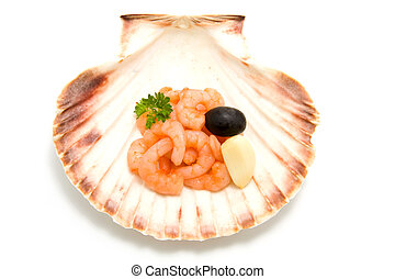 shell with food ingredients
