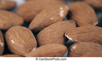Shelled raw almonds macro shot - Pile of almonds, super...