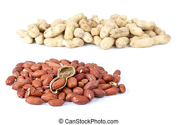 Shelled roasted peanuts and some husk isolated on the white background
