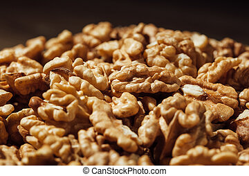 shelled walnuts heap on a plate