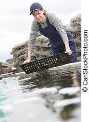 shellfish and fish farm in the sea