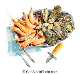 Shellfish and shrimp platter for two people