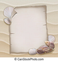Shells and blank paper sheet. Vector illustration