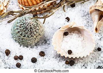 shells, coarse grained Sea Salt and peppercorns