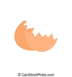Shells from egg icon, flat style