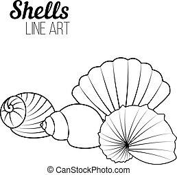 Shells, modern line art. Set of shells. Pattern for coloring book. Vector.