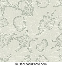 shells., seamless, abbildung, hand, hintergrund, gezeichnet