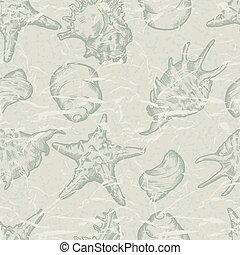 shells., seamless, illustratie, hand, achtergrond, getrokken