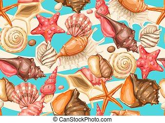 shells., seashells., トロピカル, パターン, 軟体動物, 水中, seamless