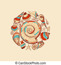 Shells vector round decoration