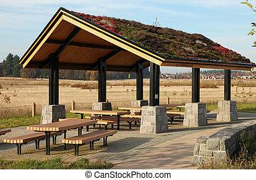shelter., 区域, ピクニック, &, レクリエーションである