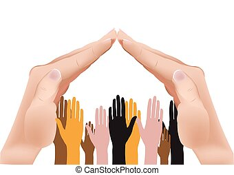 human hands in the shape of the roof coverage for immigrant shelter