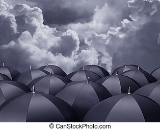 Shelter from the rain - Stylized illustration of umbrellas...