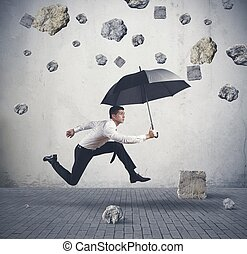 Shelter from the storm of crisis - Concept of shelter from...