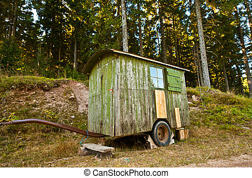 Shelter Trailer - Small old lunch shelter on wheels for...