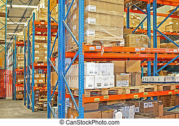 Shelves and boxes - Big warehouse storage room with boxes...