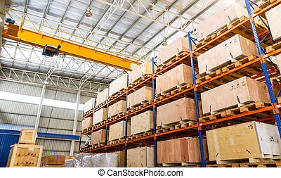 Shelves and racks in distribution warehouse interior