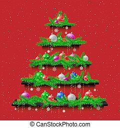 Shelves Christmas tree red background