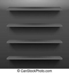 Shelves - Gorizontal black shelves on the dark wall