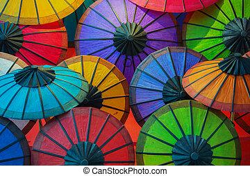 shelves., colorito, carta, negozio, laos, ombrelli