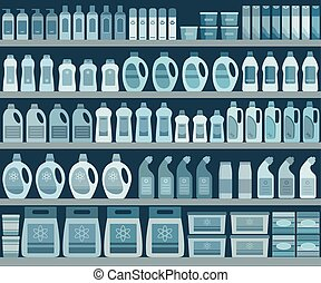 Shelves filled with cleaning products.