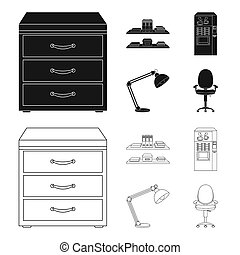 Shelves, folders and notebooks with business records, a coffee machine with cups, an armchair with a backrest on wheels, a desk lamp. Office Furniture set collection icons in black,outline style bitmap symbol stock illustration web.
