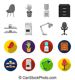 Shelves, folders and notebooks with business records, a coffee machine with cups, an armchair with a backrest on wheels, a desk lamp. Office Furniture set collection icons in monochrome,flat style bitmap symbol stock illustration web.