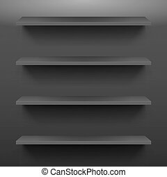 Gorizontal black shelves on the dark wall