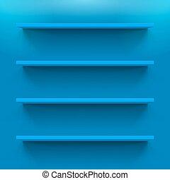 Gorizontal blue bookshelves on the wall