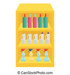 Shelves in shop with chemicals icon, cartoon style