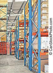 Shelves in warehouse