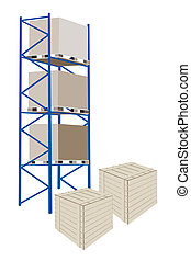 Shelves Manufacturing Storage in A Warehouse With Crates