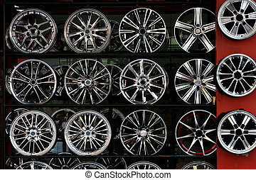 Shelves of alloy wheels