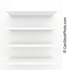 shelves on a white background. 3d render
