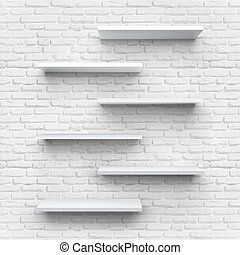 Shelves on clean brick background.