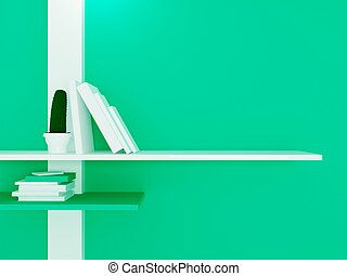 Shelves on the green wall, 3d