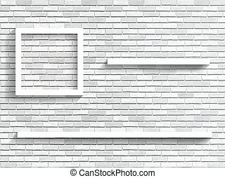 shelves on white brick wall