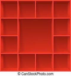 Shelves - Red bookshelves. Illustration for creative design ...
